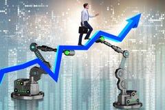L'uomo d'affari che cammina sul grafico di sostegno dal braccio robot Immagini Stock