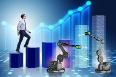 L'uomo d'affari che cammina sul grafico di sostegno dal braccio robot Immagine Stock Libera da Diritti