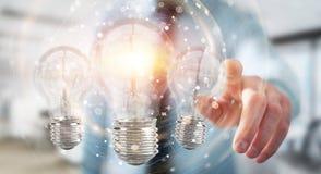 L'uomo d'affari che collega le lampadine moderne con i collegamenti 3D ren Immagine Stock Libera da Diritti