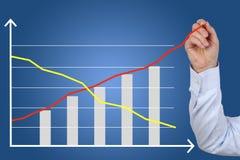 L'uomo d'affari che disegna un affare ha costato il grafico di crescita di successo Fotografia Stock