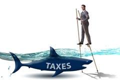 L'uomo d'affari che evita pagando le imposte elevate immagini stock