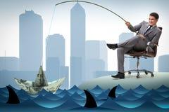 L'uomo d'affari che pesca fuori i dollari da acqua royalty illustrazione gratis