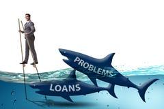 L'uomo d'affari che si occupa con successo dei prestiti e dei debiti immagine stock libera da diritti