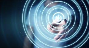 L'uomo d'affari che spinge 3D rende il bottone di potere con il suo dito Immagine Stock