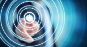 L'uomo d'affari che spinge 3D rende il bottone di potere con il suo dito Fotografia Stock Libera da Diritti