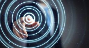 L'uomo d'affari che spinge 3D rende il bottone di potere con il suo dito Immagine Stock Libera da Diritti