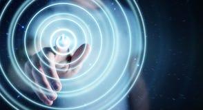 L'uomo d'affari che spinge 3D rende il bottone di potere con il suo dito Fotografia Stock