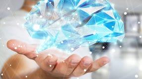 L'uomo d'affari che tiene il cervello umano digitale dei raggi x in sua mano 3D ren Fotografie Stock Libere da Diritti