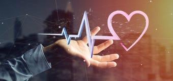 L'uomo d'affari che tiene un 3d che rende il cuore medico curva Fotografia Stock Libera da Diritti