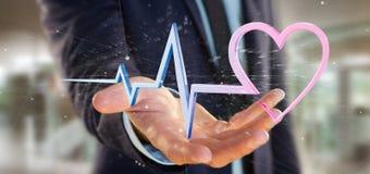 L'uomo d'affari che tiene un 3d che rende il cuore medico curva Fotografia Stock
