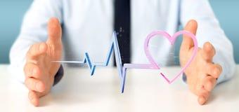 L'uomo d'affari che tiene un 3d che rende il cuore medico curva Immagini Stock