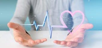 L'uomo d'affari che tiene un 3d che rende il cuore medico curva Immagini Stock Libere da Diritti