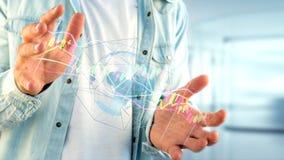 L'uomo d'affari che tiene un 3d rende le informazioni di dati di commercio di borsa valori Immagini Stock