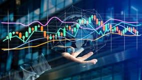 L'uomo d'affari che tiene un 3d rende le informazioni di dati di commercio di borsa valori Fotografie Stock