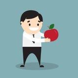 L'uomo d'affari che tiene una mela rossa illustrazione vettoriale