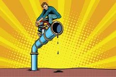 L'uomo d'affari chiude il tubo di olio Fotografia Stock Libera da Diritti