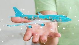 L'uomo d'affari con i punti di riferimento piani e famosi del mondo 3D si strappa Fotografia Stock Libera da Diritti