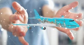 L'uomo d'affari con i punti di riferimento piani e famosi del mondo 3D si strappa Fotografia Stock