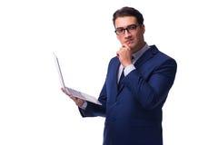L'uomo d'affari con il computer portatile isolato su bianco Fotografia Stock