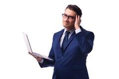 L'uomo d'affari con il computer portatile isolato su bianco Fotografia Stock Libera da Diritti