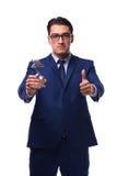L'uomo d'affari con il premio della stella isolato su bianco Fotografie Stock Libere da Diritti