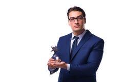 L'uomo d'affari con il premio della stella isolato su bianco Fotografia Stock Libera da Diritti