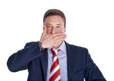 L'uomo d'affari con la bocca si è chiuso Immagini Stock