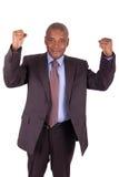 L'uomo d'affari con le braccia si è alzato isolato Immagini Stock Libere da Diritti