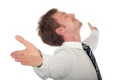 L'uomo d'affari con suo munisce spalancato Immagini Stock