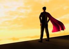 L'uomo d'affari con un capo rosso di volo gradisce l'illustrazione del superman 3d royalty illustrazione gratis