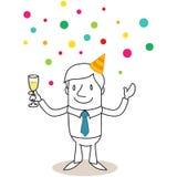 L'uomo d'affari con vetro di champagne, coriandoli piove illustrazione di stock