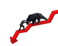 L'uomo d'affari contro riguarda la linea parte posteriore di tendenza verso il basso della freccia di bianco Immagini Stock