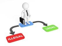l'uomo d'affari 3d con la freccia Choice indica legale ed illegale 3d con riferimento a Fotografia Stock Libera da Diritti