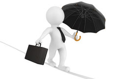 l'uomo d'affari 3d ha equilibrato con una cartella e un ombrello Immagine Stock