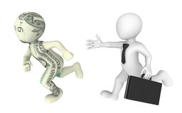 l'uomo d'affari 3d persegue il personaggio dei cartoni animati del dollaro Fotografia Stock