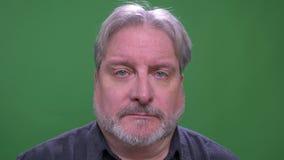 L'uomo d'affari dai capelli grigio senior guarda misero nella macchina fotografica isolata sul fondo verde di chromakey archivi video