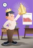 L'uomo d'affari del vincitore che solleva le sue mani tiene la tazza di campione Fotografia Stock