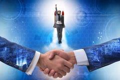 L'uomo d'affari dentro inizia sul concetto di affari immagini stock libere da diritti