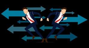 L'uomo d'affari deve prendere la decisione che modo andare per la sua illustrazione di vettore di successo Fotografie Stock Libere da Diritti