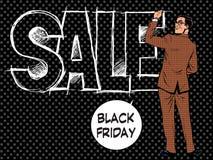 L'uomo d'affari di Black Friday scrive la vendita Fotografie Stock Libere da Diritti