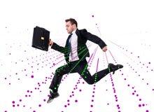 L'uomo d'affari di salto nel concetto astratto su bianco Immagine Stock Libera da Diritti