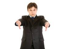 L'uomo d'affari Displeased che mostra i pollici giù gesture immagini stock