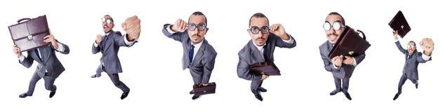 L'uomo d'affari divertente del nerd isolato su bianco immagini stock