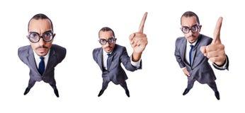 L'uomo d'affari divertente del nerd isolato su bianco fotografia stock