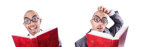 L'uomo d'affari divertente del nerd su bianco fotografie stock libere da diritti