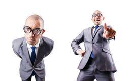 L'uomo d'affari divertente del nerd su bianco immagine stock libera da diritti
