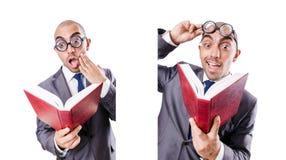 L'uomo d'affari divertente del nerd su bianco fotografia stock