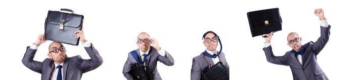 L'uomo d'affari divertente del nerd sul bianco fotografia stock libera da diritti