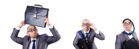 L'uomo d'affari divertente del nerd sul bianco immagini stock libere da diritti