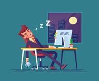 L'uomo d'affari esaurito è caduto addormentato nel posto di lavoro nell'ufficio alla notte Lavoro fuori orario Illustrazione mode Fotografia Stock